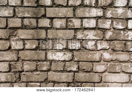Old wall made of bricks with cement. gray colors
