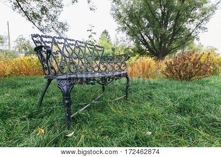 wrought-iron bench on the grass. horizontal shot