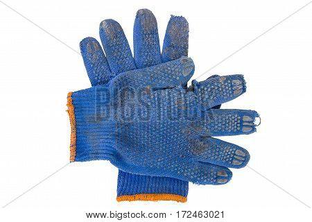 torn blue gardening gloves isolated white background