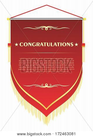 Vector Congratulation hanging flag of Achievement Recognition Certificate