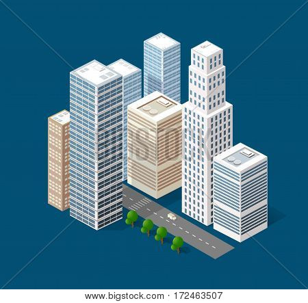 3d isometric three-dimensional urban transport street with houses skyscrapers. Top view of the city district
