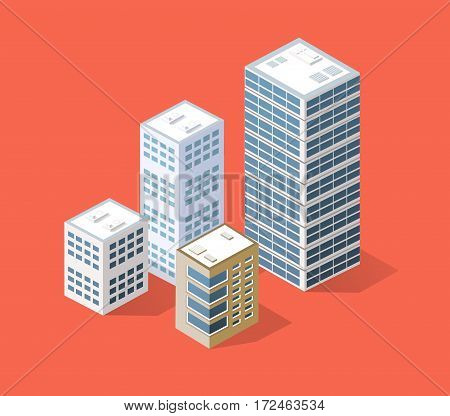 Neighborhood 3d isometric three-dimensional view of the city. Collection of houses skyscrapers buildings and supermarkets. The stock vector