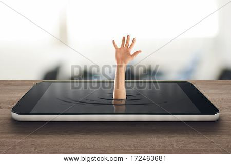Businessman asking for help to get out a big cellphone. 3D Rendering