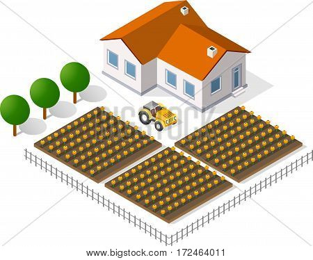 Houses and gardens in a rural perspective view