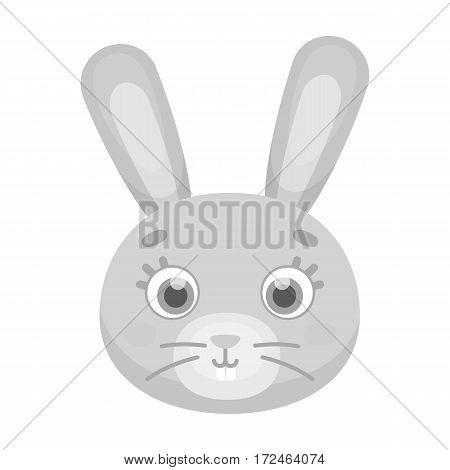 Rabbit muzzle icon in monochrome design isolated on white background. Animal muzzle symbol stock vector illustration.