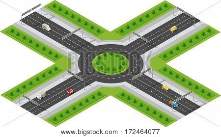 Transportation City streets intersection with houses and trees. Isometric view from above on a city transport