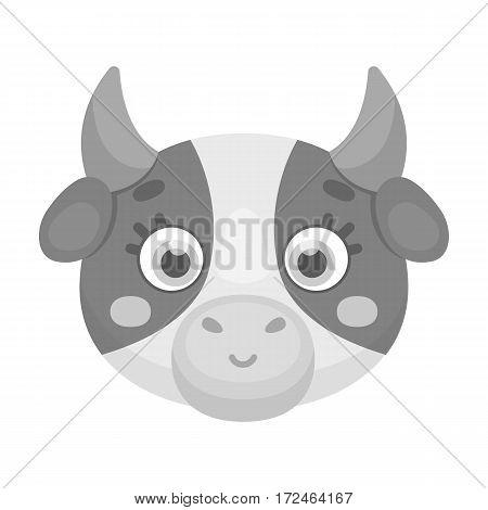 Cow muzzle icon in monochrome design isolated on white background. Animal muzzle symbol stock vector illustration.