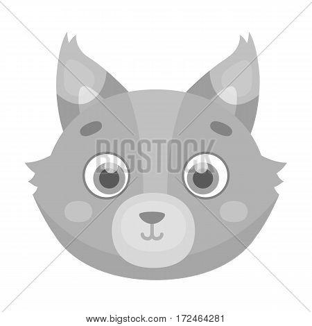 Wolf muzzle icon in monochrome design isolated on white background. Animal muzzle symbol stock vector illustration.