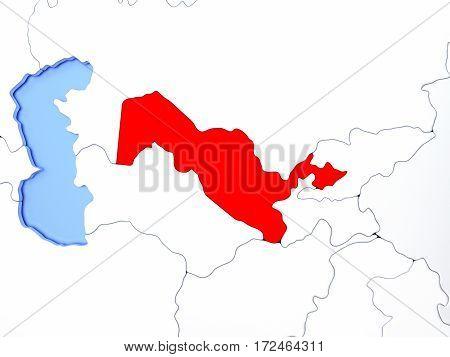 Uzbekistan In Red On Map