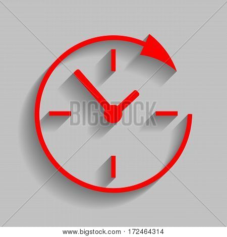 Service and support for customers around the clock and 24 hours. Vector. Red icon with soft shadow on gray background.