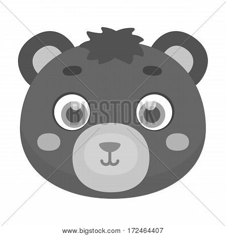 Bear muzzle icon in monochrome design isolated on white background. Animal muzzle symbol stock vector illustration.
