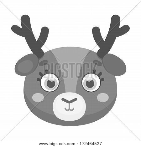 Deer muzzle icon in monochrome design isolated on white background. Animal muzzle symbol stock vector illustration.