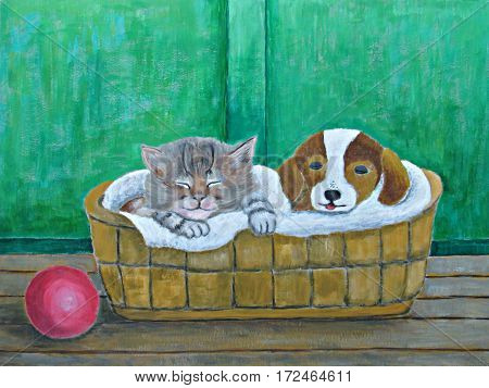 nap time cat and dog sleeping painting poster