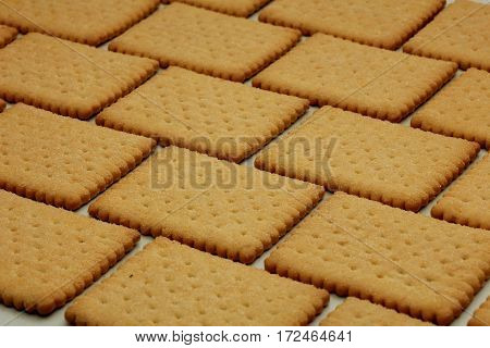Plain biscuits in a brick pattern cookie wall