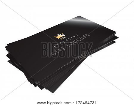 premium high class gift with gold foil block on a white background