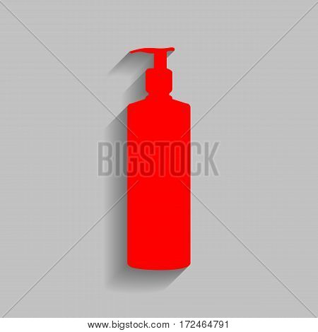 Gel, Foam Or Liquid Soap. Dispenser Pump Plastic Bottle silhouette. Vector. Red icon with soft shadow on gray background.