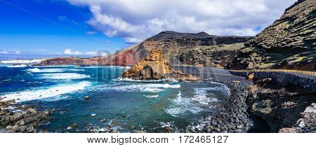 beautiful black beaches of volcanic island Lanzarote. Canary islands