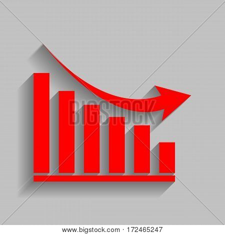 Declining graph sign. Vector. Red icon with soft shadow on gray background.