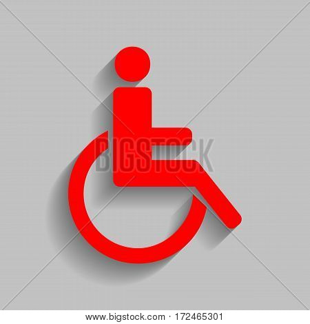Disabled sign illustration. Vector. Red icon with soft shadow on gray background.