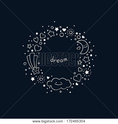 Abstract background in hand-drawn style. Round frame with cloud stars hearts comet and crescent moon. Vector illustration