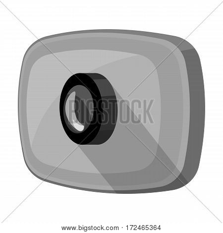 Webcam icon in monochrome design isolated on white background. Personal computer accessories symbol stock vector illustration.