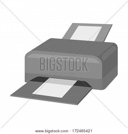Printer icon in monochrome design isolated on white background. Personal computer accessories symbol stock vector illustration.