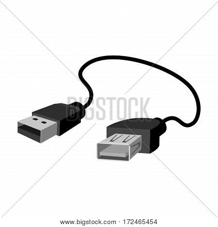 USB cable icon in monochrome design isolated on white background. Personal computer accessories symbol stock vector illustration.
