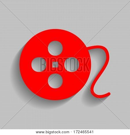 Film circular sign. Vector. Red icon with soft shadow on gray background.