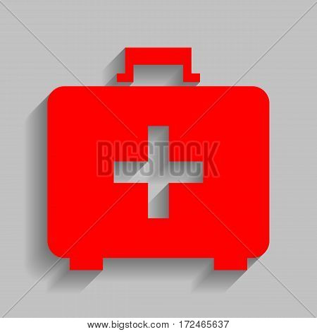 Medical First aid box sign. Vector. Red icon with soft shadow on gray background.