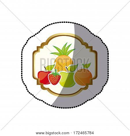 sticker colorful silhouette decorative heraldic frame with still life fruits vector illustration