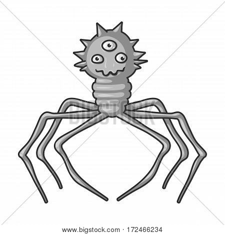 Red virus icon in monochrome design isolated on white background. Viruses and bacteries symbol stock vector illustration.