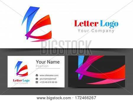 Abstract Letter K Corporate Logo and Business Card Sign Template. Creative Design with Colorful Logotype Visual Identity Composition Made of Multicolored Element. Vector Illustration.