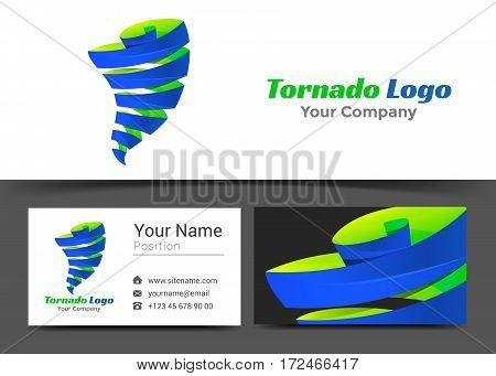 Tornado Storm Corporate Logo and Business Card Sign Template. Creative Design with Colorful Logotype Visual Identity Composition Made of Multicolored Element. Vector Illustration.