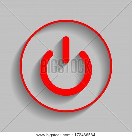 On Off switch sign. Vector. Red icon with soft shadow on gray background.