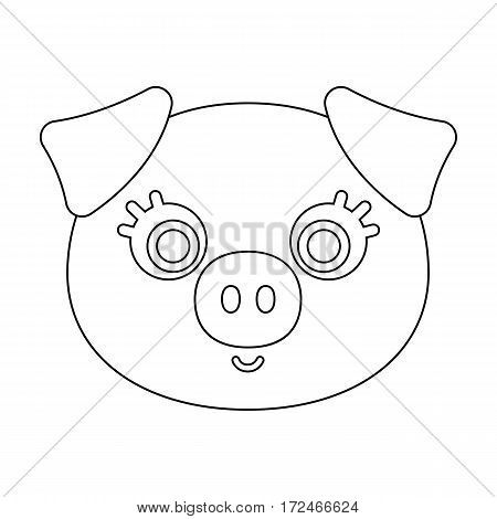 Pig muzzle icon in outline design isolated on white background. Animal muzzle symbol stock vector illustration.