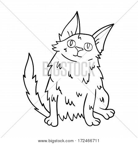 Turkish Angora icon in outline design isolated on white background. Cat breeds symbol stock vector illustration.