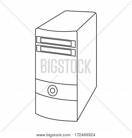 Computer case icon in outline design isolated on white background. Personal computer accessories symbol stock vector illustration.