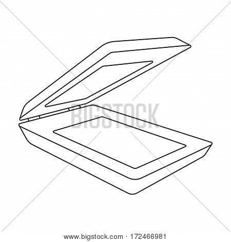 Scanner icon in outline design isolated on white background. Personal computer accessories symbol stock vector illustration.