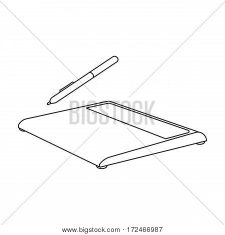 Drawing tablet icon in outline design isolated on white background. Personal computer accessories symbol stock vector illustration.