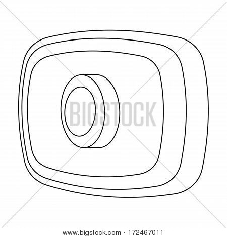 Webcam icon in outline design isolated on white background. Personal computer accessories symbol stock vector illustration.