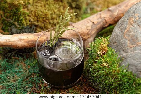 Black cocktail with rosemary on moss, natural drink concept, Nordic cuisine