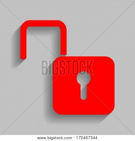 Unlock sign illustration. Vector. Red icon with soft shadow on gray background.