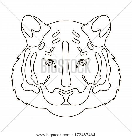Tiger icon in outline design isolated on white background. Realistic animals symbol stock vector illustration.