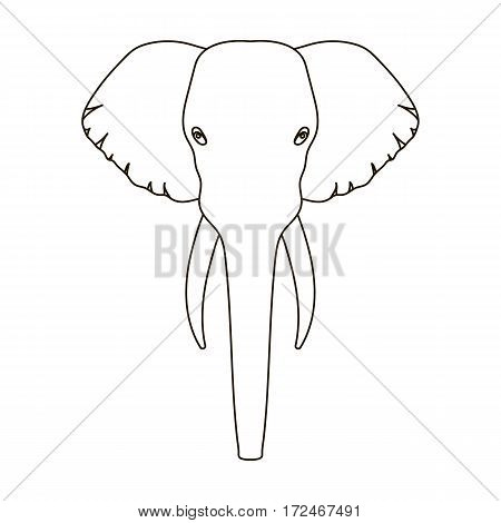 Elephant icon in outline design isolated on white background. Realistic animals symbol stock vector illustration.