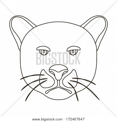 Black panther icon in outline design isolated on white background. Realistic animals symbol stock vector illustration.