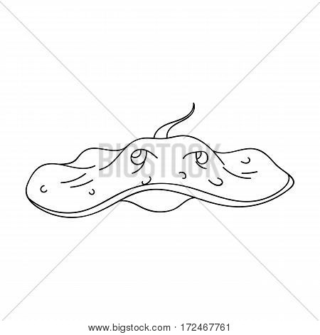 Stingray icon in outline design isolated on white background. Sea animals symbol stock vector illustration.