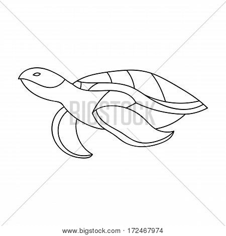 Sea turtle icon in outline design isolated on white background. Sea animals symbol stock vector illustration.