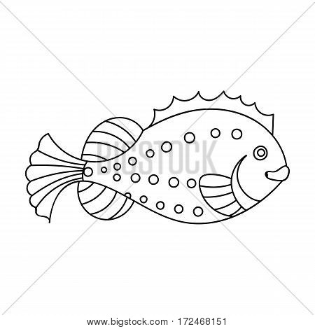 Sea fish icon in outline design isolated on white background. Sea animals symbol stock vector illustration.
