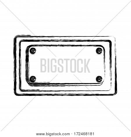blurred silhouette rectangle warning traffic sign vector illustration