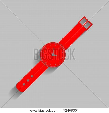 Watch sign illustration. Vector. Red icon with soft shadow on gray background.